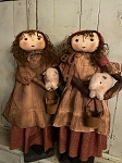 Handmade Primitive Doll Holding an Adorable Pig 25