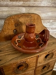 Redware Candle Holder 3.5