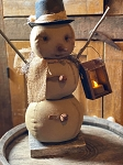 ***LIMITED ORDERS**** Handmade Snowman with Lantern and Battery Candle 17
