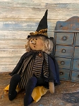 Handmade Primitive Witch Doll Sitting