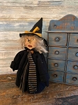 Handmade Primitive Witch Doll Sculpted Face 17