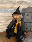 Handmade Primitive Witch Doll Sculpted Face Sitting