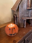 Handmade Felted Jack O Lantern Pumpkin Tealight Candle Holder with Bells