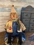 Handmade Primitive Scarecrow Doll Sculpted Face