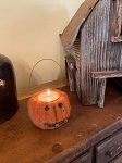 Handmade Felted Jack O Lantern Pumpkin Tealight Candle Holder with Bells and Hanger