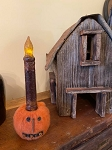 Handmade Felted Jack O Lantern Pumpkin Taper Candle Holder with Bells