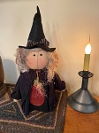 Handmade Primitive Witch with Stitched Face 18