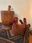 Handmade WOOL Turkey with Rust Color Feathers