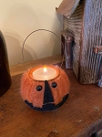 Handmade Felted Jack O Lantern Pumpkin Tealight Candle Holder with Hanger