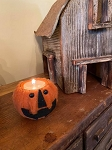 Handmade Felted Jack O Lantern Pumpkin Tealight Candle Holder