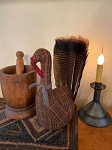 Handmade WOOL Turkey with Real Feathers in Plaid 15