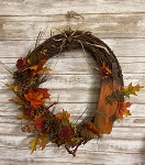 Handmade Fall Wreath with Pumpkin and Florals 18