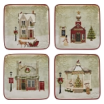 Vintage Town Square Salad Plate 4 Assorted