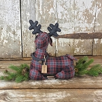 Small Christmas Laying Plaid Deer