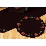 Pumpkins And Vines Black Candle Mat