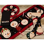 Snowfriends Candle Mat Black-Barn Red