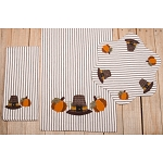Pilgrim Pumpkin Black-White Ticking Candle Mat