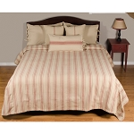 Grain Sack Stripe Oat-Barn Red Bed Cover Queen