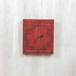 SMALL RED RAISED PANEL CLOCK
