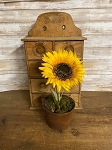 "Handmade Waxed Potted Sunflower Yellow 11-12"" tall"