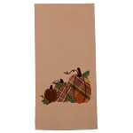 Plaid Orchard Pumpkins Towel Nutmeg