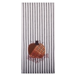 Patchwork Pumpkin Black-White Ticking Towel