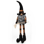 WITCH GNOME WITH BROOM, WOOD NOSE GREY BEARD, ORANGE PLAID ARMS & LEGS 6.5