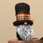 WARLOCK GNOME WITH PUMPKIN, WOOD, NOSE, GREY BEARD & OR PLAID TOP HAT 4