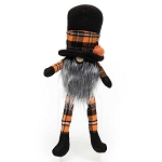 WARLOCK GNOME WITH PUMPKIN, WOOD NOSE, GREY BEARD, ORANGE PLAID TOP HAT, ARMS & LEGS 4