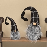 WARLOCK GNOME WITH BAT POM, BLACK/WHITE PLAID HAT, WOOD NOSE & GREY BEARD SMALL 2