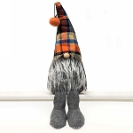 GNOME WITH PUMPKIN POM, ORANGE/BLUE PLAID HAT, WOOD NOSE, GREY BEARD & LEGS LARGE 6.5