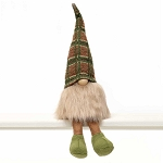 COUSIN GNOME WITH WIRED GREEN/BEIGE PLAID SWEATER HAT, WOOD NOSE, BEIGE BEARD & LEGS 4