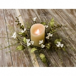 White Floral Candle Ring - 4.5 in