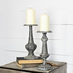 SET OF 2 HEAVY TIN CANDLE STAND