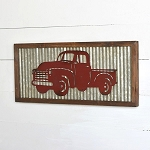 TIN RED PICK-UP TRUCK WALL PLAQUE