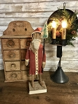 Handmade Primitive Red Santa on Wood Stand 15