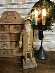 Handmade Primitive Mustard Santa on Wood Stand 15