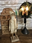 Handmade Primitive Ivory Santa on Wood Stand 15