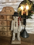 Handmade Primitive Snowman on Stand 14