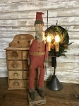 Handmade Primitive Santa with Back Pack on Stand 22