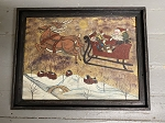Hand Painted Santa Sleigh Holiday Artwork Painting by Kathy Graybill