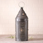 21-Inch Lantern in Smokey Black Punched Tin