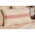 Grain Sack Stripe Oat-Barn Red Lumbar Pillow Cover