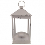 White Distressed Lantern - 6 x 6 x 13.25 in