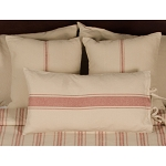 Grain Sack Stripe Oat-Barn Red Pillow Cover