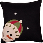 Snowfriends Pillow Black-Barn Red