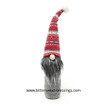 WINTER GNOME WITH RED SWEATER HAT & WHITE POM 14