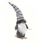 NORSE GNOME WITH GREY SWEATER HAT AND WOOD NOSE ON SKIS LARGE 3