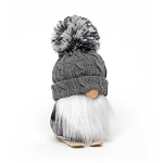 GNOME ON SKIS WITH GREY POM-POM SWEATER HAT, WOOD NOSE, WHITE BEARD & PLAID BODY SMALL 4