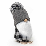 GNOME ON SKIS WITH GREY POM-POM SWEATER HAT, WOOD NOSE, WHITE BEARD & PLAID BODY LARGE 5.5